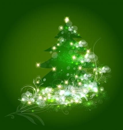 Rbol de navidad vector de la tarjeta del ornamento Foto de archivo - 21989914