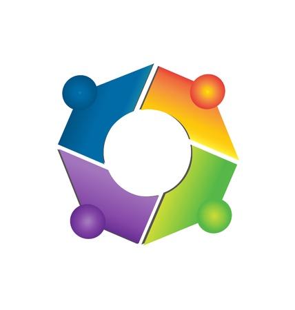 Trabajo en equipo conexiones de red icono de las aplicaciones de vectores