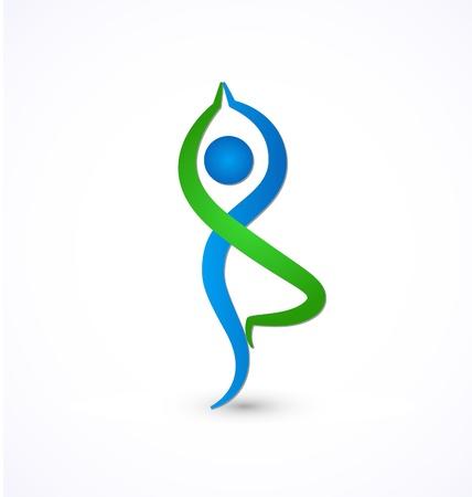 pilate: Pose de yoga sain vecteur Ic�ne de la vie