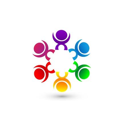 union: Lavoro di squadra gente unione comunit� concetto di icona Vettoriali