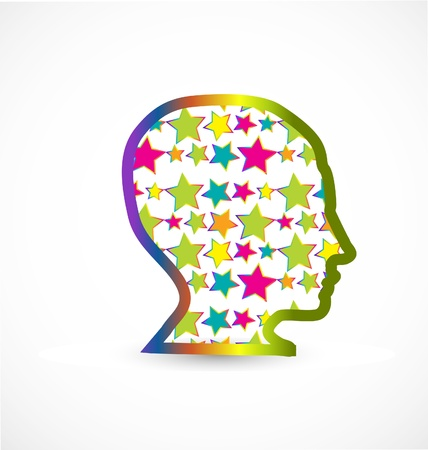 Human head with stars vector background Vector