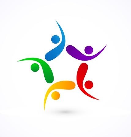 solidaridad: Swooshes icono de trabajo en equipo