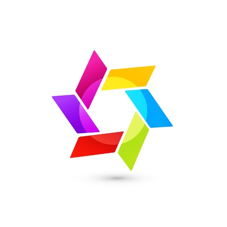 Abstract icon vector in vivid colors Illustration