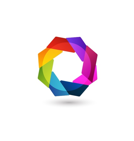 group fitness: Abstract icon shape vector in vivid colors