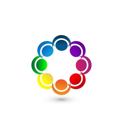 Teamwork people around icon app vector