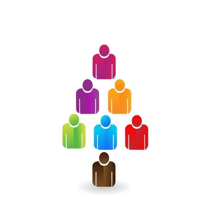 リーダー チームワーク ツリー アイコン ベクトル  イラスト・ベクター素材