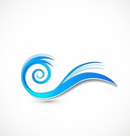 渦巻き模様の青い波のアイコン ベクトル