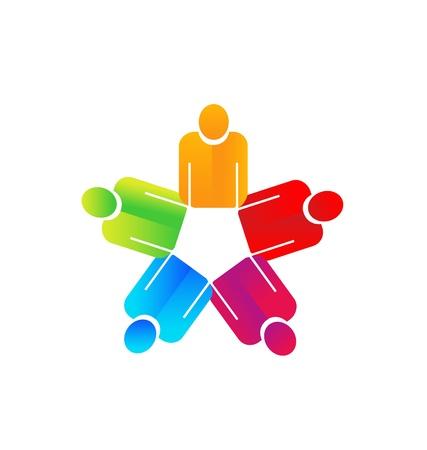 unity small flower: Teamwork holding hands people logo vector  Illustration