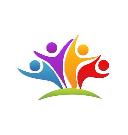 Teamwork glückliche Partner Geschäfts Symbol Vektor Standard-Bild - 22034012
