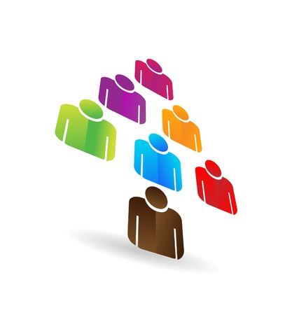 unity small flower: Leader business teamwork tree icon vector Illustration