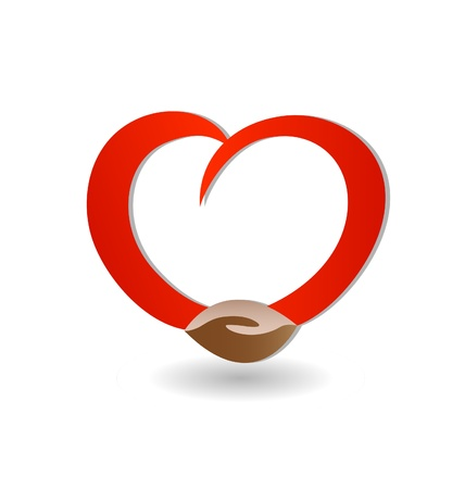 Handshaking with love icon vector Vector