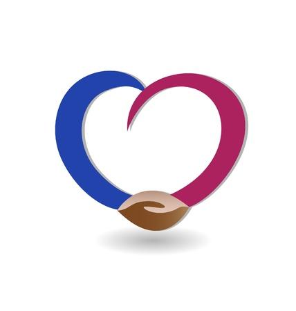 gönüllü: Aşk simge vektör ile tokalaşma Çizim