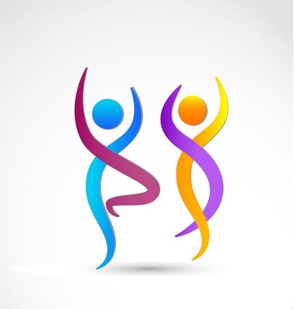 Paar dansen wellness pictogram achtergrond Stock Illustratie