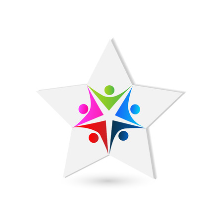 Teamwork people in star shape icon  Vector