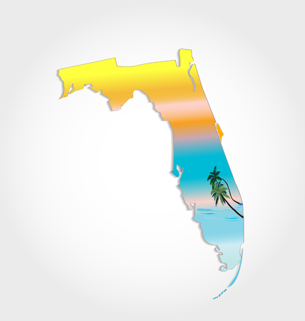 miami south beach: Map of Florida with sunshine and palms  Illustration