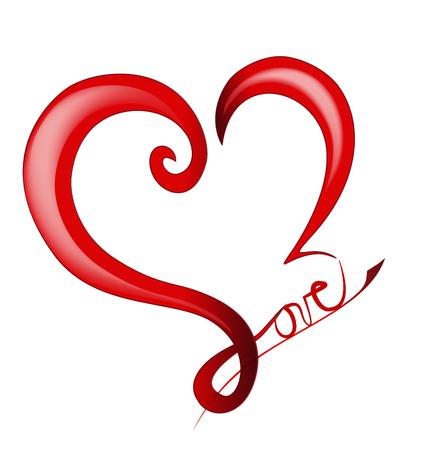shiny hearts: Valentines Day Shiny Love Heart  Illustration