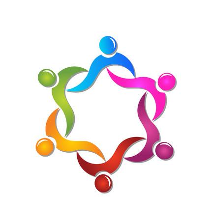 la union hace la fuerza: El trabajo en equipo ayuda a la gente del icono