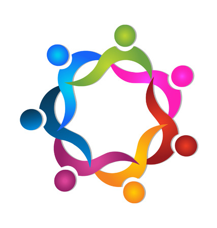 Teamwork 7 people colorful icon  Vector