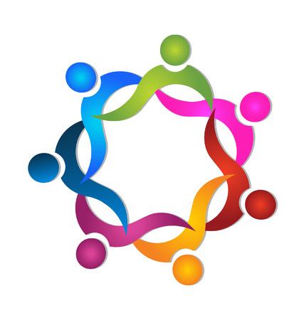 Teamwork 7 personen kleurrijke icoon