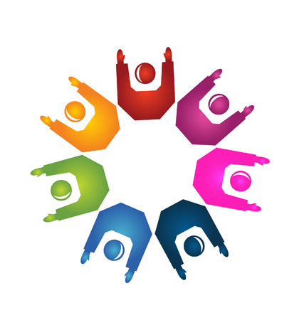 Teamwork hands up icon   Vector