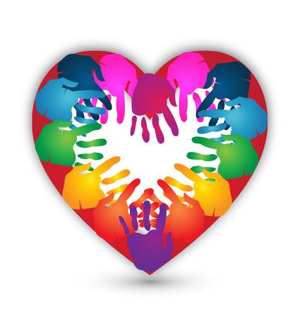 mani unite: Le mani insieme per amore icona del design Vettoriali