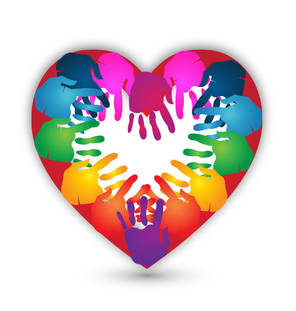 ensemble mains: Mains ensemble pour l'amour de conception de l'ic�ne Illustration