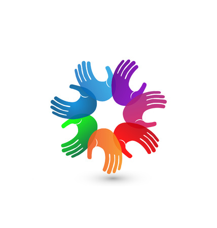 together voluntary: Colorful hands teamwork icon illustration