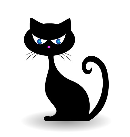 cute cat: Black cat icon illustration
