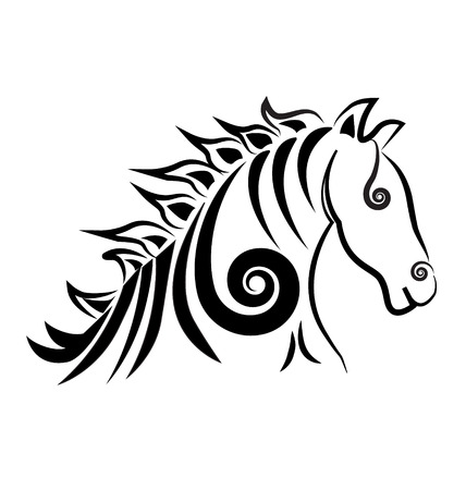 Horse with swirly hair icon  Stock Vector - 22527576