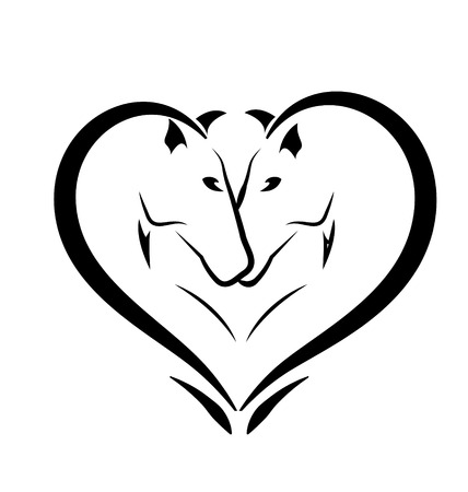 corazon: Caballos estilizados en icono del amor Vectores