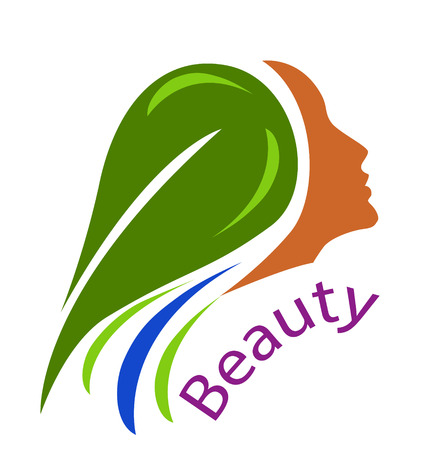 Woman face-healthy hair icon vector  Çizim
