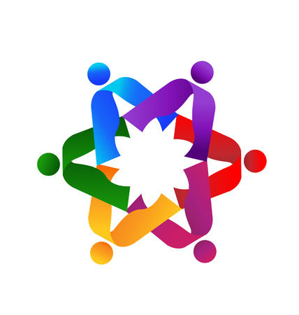 Teamwork colorful 6 vector icon  Illustration