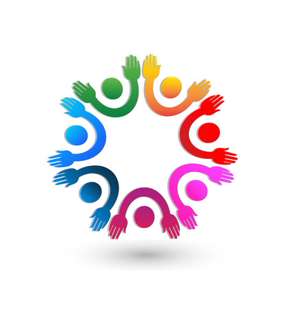 Teamwork hands up icon vector  Vector