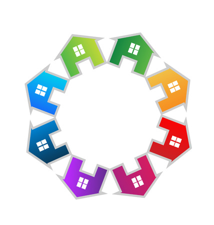 Teamwork houses icon vector Vector