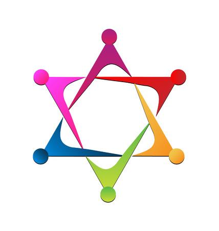 la union hace la fuerza: Vector icono de unidad trabajo en equipo