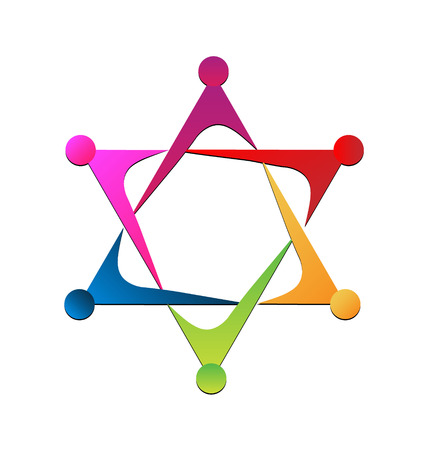 Vector of unity teamwork icon Çizim