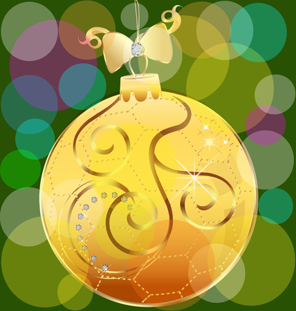 Vector of gold christmas ball background Vector