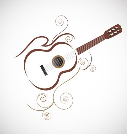 飾り様式化されたギターのアイコン ベクトル