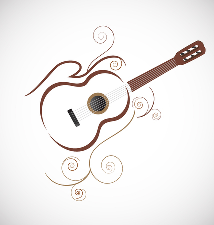 Stylized guitar icon vector with ornaments Vettoriali
