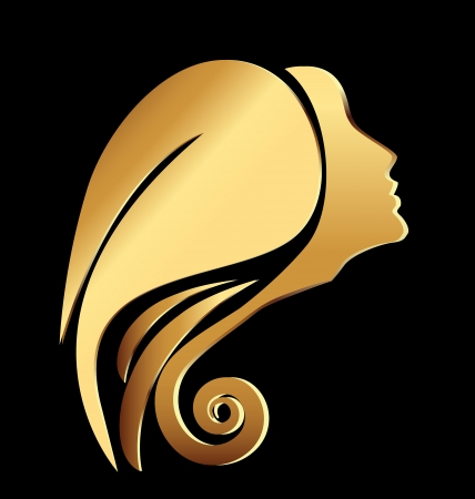 Vector of a gold woman face icon Çizim