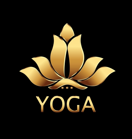 Vector of yoga gold lotus flower