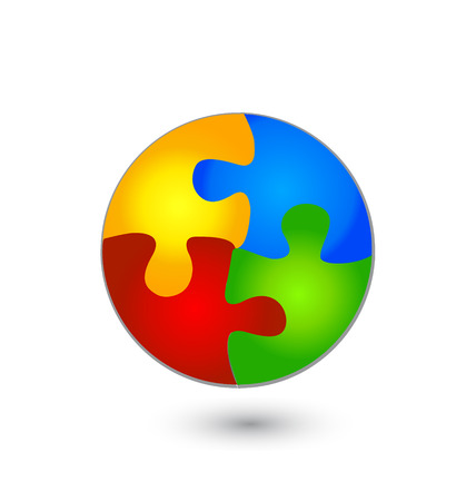games hand: Vector illustration of puzzle circle in vivid colors Illustration