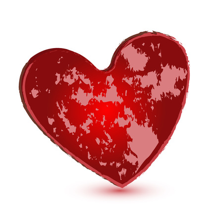Red grunge heart vector icon Vector