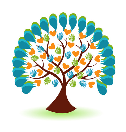 Tree hands and heart business icon vector