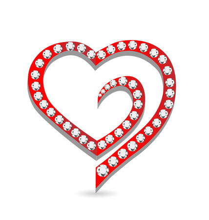 Heart with diamonds icon vector  Vector