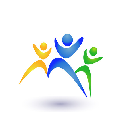 healthy exercise: People group business icon vector