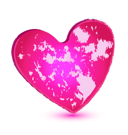 Pink grunge heart vector icon Vector