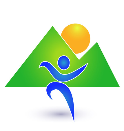 shaken: Person in motion with mountains background icon