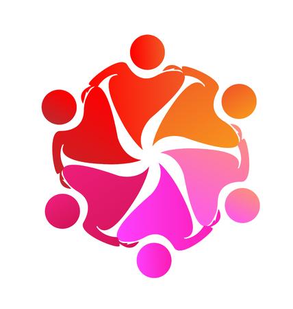 gönüllü: Takım sarılmak kalp insanlar simge vektör