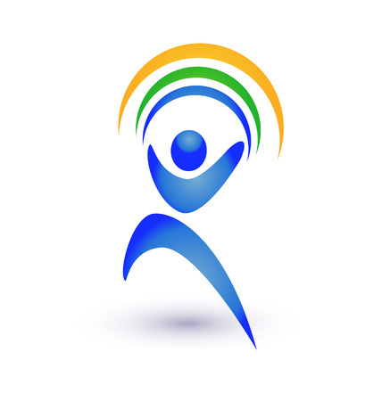 seething: Person in motion with rainbow or ribbons icon